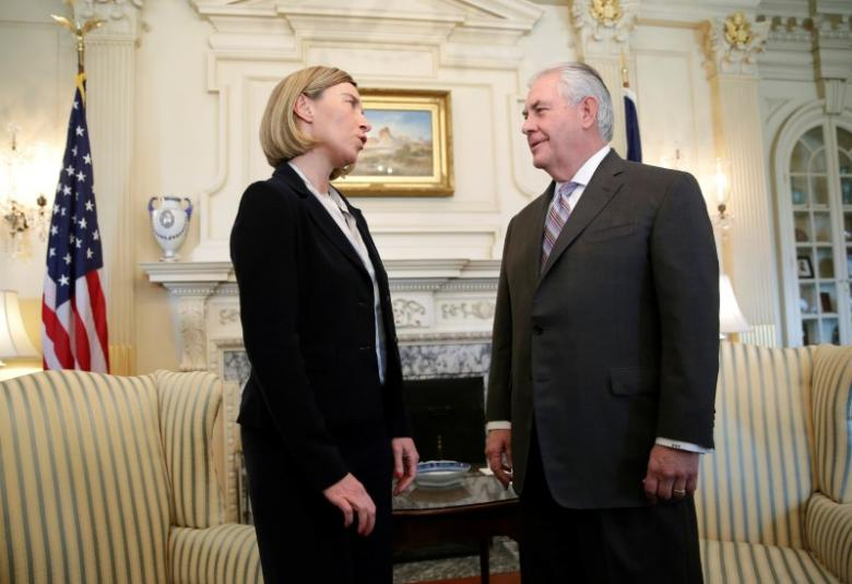 U.S. Secretary of State Rex Tillerson meets with European Union High Representative for Foreign Affairs Federica Mogherini at the State Department in Washington